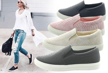 Slip-on schoenen met snake print nu €14,95 | Mis de aanbieding niet! #schoenen #snake #aanbieding