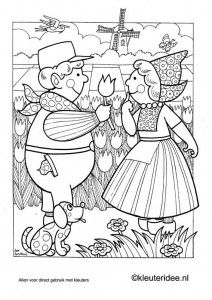 Kleurplaat Nederland, kleuteridee.nl , The Netherlands coloring, free printable