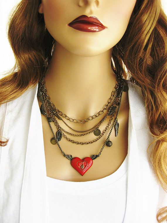 Red Heart Assemblage Necklace Multi Strand by RalstonOriginals