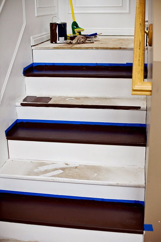 Painting particle board stairs for the home pinterest for Painted stair treads