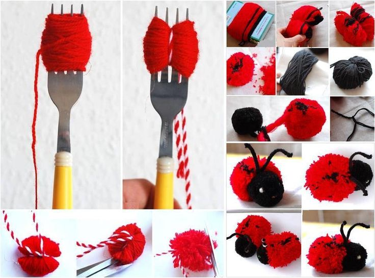 Тhis yarn pom-pom ladybug is really cute and easy, fun to make. It would be a nice gift for any children.  Check directions--> http://wonderfuldiy.com/wonderful-diy-cute-pom-pom-ladybug/