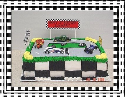 Hot Wheels race trackSheet Cake, Hay Bale