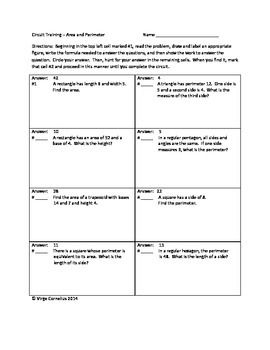 Your students will have fun as they hunt for the answers in this self-checking circuit.  Area and perimeter of triangles, squares, rectangles,parallelograms, etc.  The problems get progressively harder so it is great for differentiated instruction.