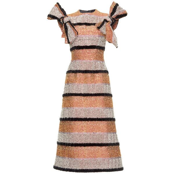 Dolce & Gabbana Striped Lurex Fitted Dress ($4,595) ❤ liked on Polyvore featuring dresses, striped dress, zipper back dress, lurex dress, tight fitted dresses and tea length dresses