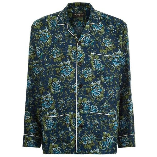 Burberry Runway Peony Print Pyjama Shirt ($690) ❤ liked on Polyvore featuring men's fashion, men's clothing, men's shirts, men's casual shirts, mens silk shirts and mens loose shirts