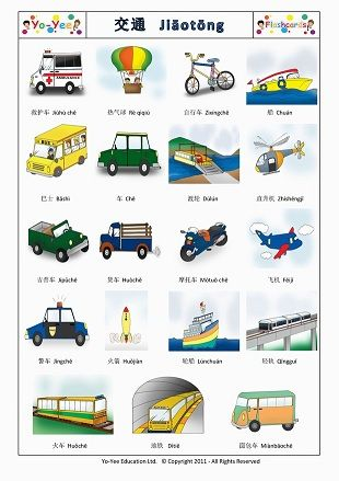 Chinese Transportation Flashcards for Beginners.  To change the language for the cards you are looking for, please use the language selector at the top-right corner of the page and click one of the flags.