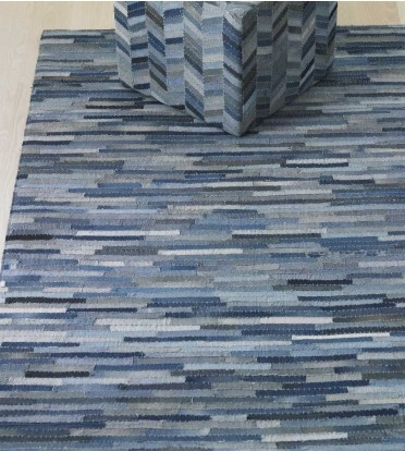 How are these put together!? Recycled denim rug and pouf.