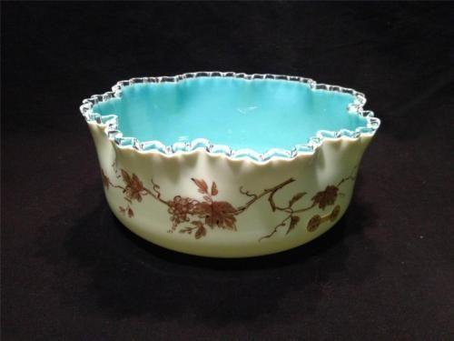 **Victorian Art Glass Robin Egg Blue Custard Gold Grape Brides Bowl**   Antiques, Decorative Arts, Glass   eBay!