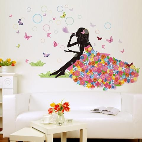 Flower Girl Wall sticker blowing bubbles with lovely butterflys
