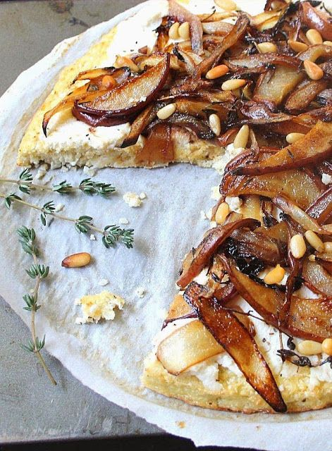 Roasted Pear and Caramelized Onion Pizza with a Cauliflower Crust (Gluten Free, Grain Free)  http://www.inspirededibles.ca/2013/10/roasted-pear-and-caramelized-onion.html
