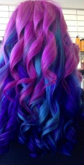 Purple and blue curly dyed hair