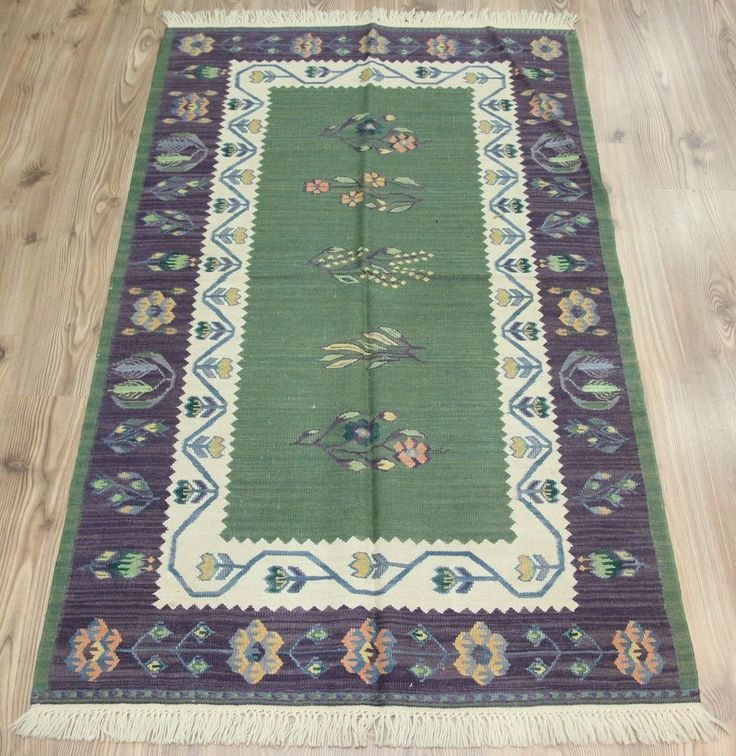 "Kilim Rug Turkish Handmade Super Fine Usak Oushak Kilim Rug 36.6""x59.8"" (43919) #Turkish"