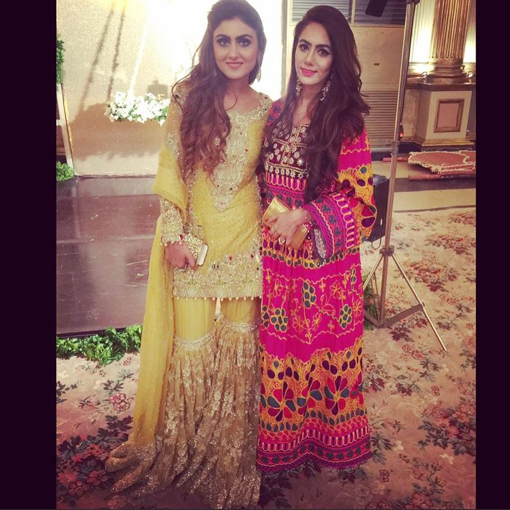 A #traditional Balochi dress works just as well as a #modern take on the sharara. @shanzaaysheikh @anushammar at #azainnoor wedding function. #pakistaniwedding