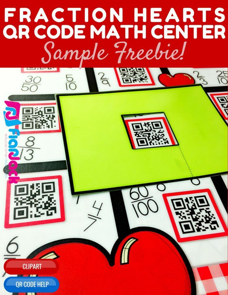 comparing fractions heart themed qr code math center freebie students will practice comparing fractions