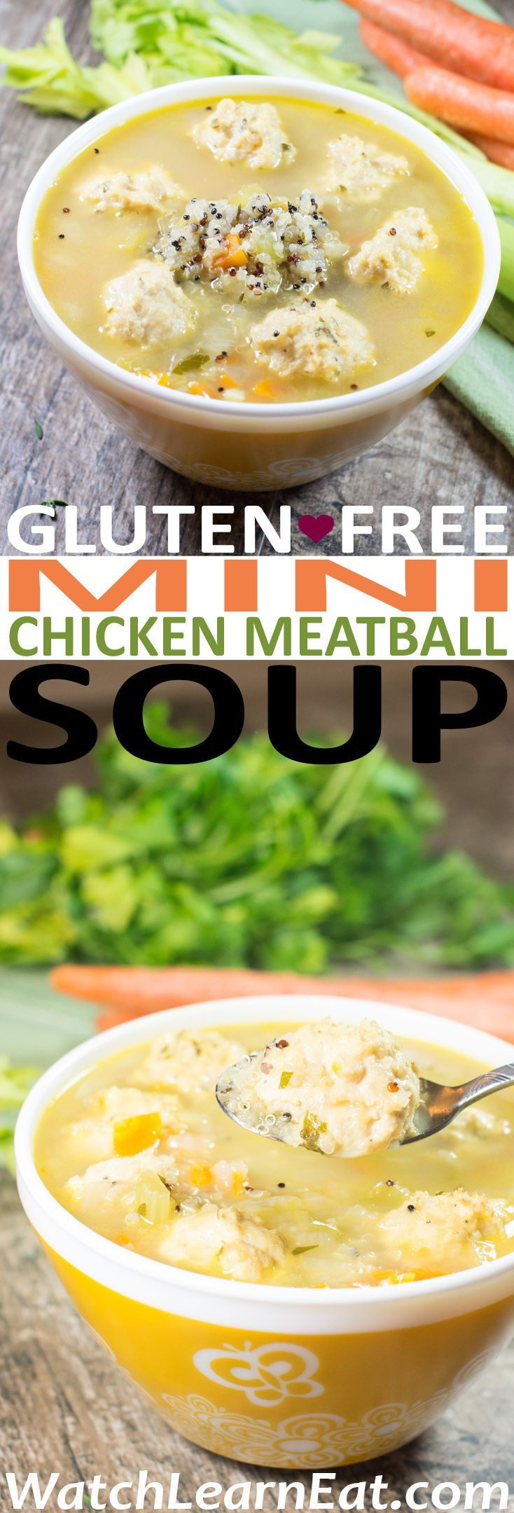 Chicken Soup meets Italian Wedding and gets a gluten-free makeover in this Mini Chicken Meatball Soup.