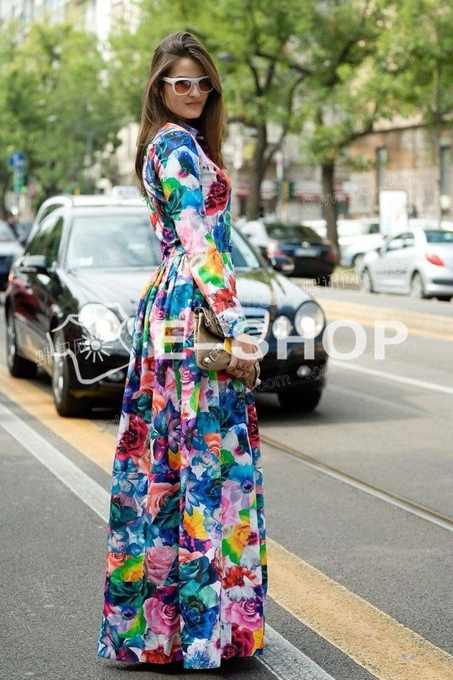 New arrival 2015 Women ladies spring winter runway fashion multi colour floral print elegant long sleeve Maxi dress Party Dresses Bohemian 5005