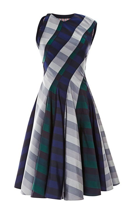 Shop Paneled Spiral-Cut Silk Dress by Thom Browne Now Available on Moda Operandi