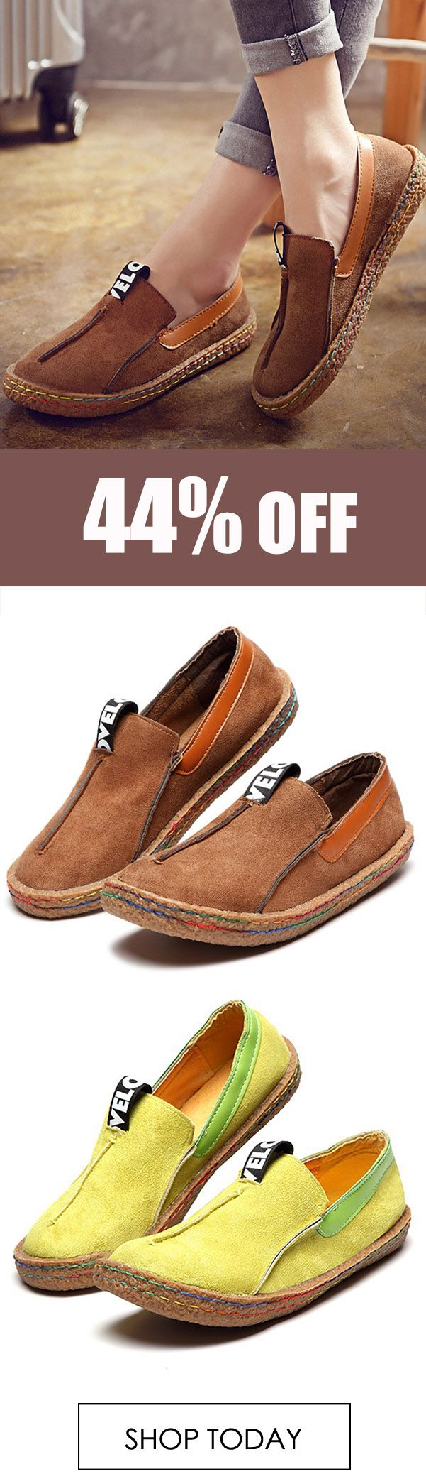 Big Size Women Casual Round Toe Soft Sole Pure Color Flat Loafers.  #fashion #shoes