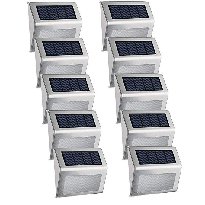 10 Pack Solar Step Deck Lights Easternstar 4 Led Solar Powered Stainless Steel Weatherproof Outdoor Lig Solar Step Lights Outdoor Solar Lights Step Lighting