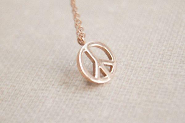 Necklace- Rose Gold peace necklace,peace sign necklace