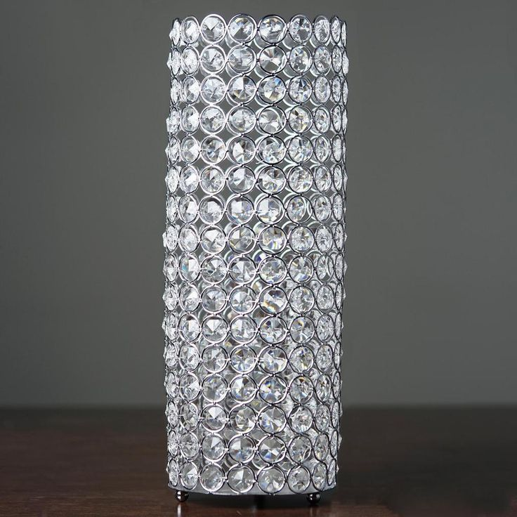 16″ Tall Silver Fully Beaded Pillar Candle Holder Crystal Candle Stand
