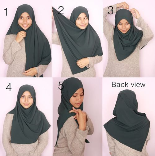 A very quick and simple hijab tutorial.  It looks triangular from the back and always covering the chest from the front.  You need a scarf, a safety pin under your chin, a straight pin in the top and a brooch/pin to fix the scarf at the shoulder.