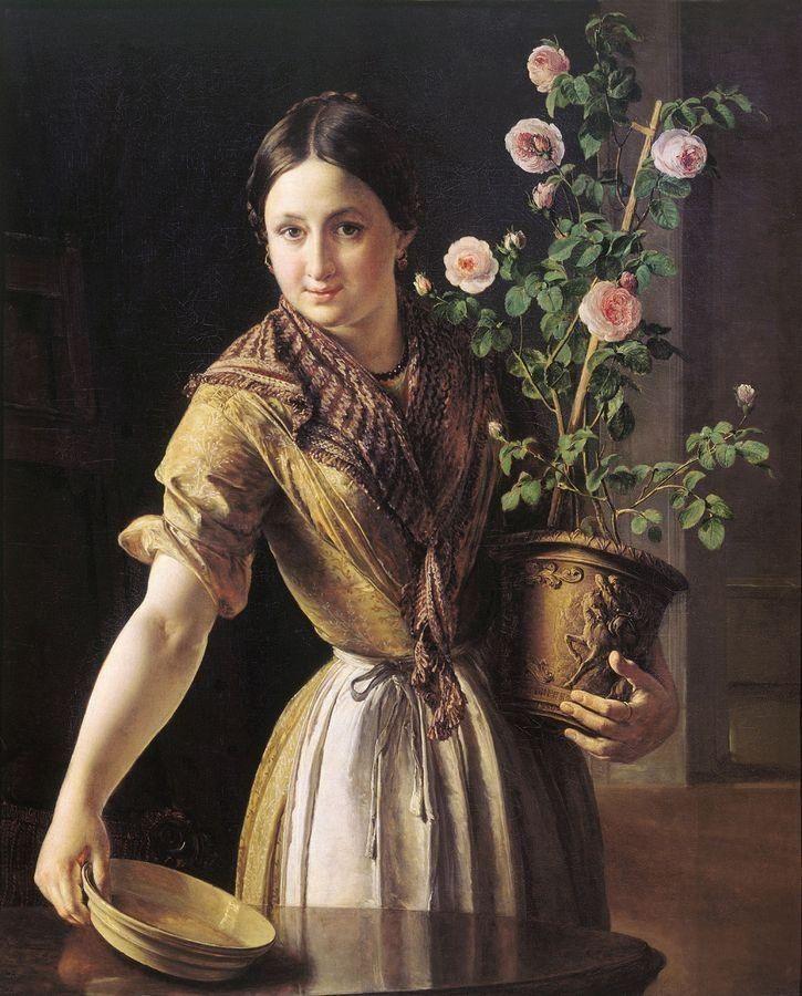 Vasily Tropinin - Girl with a Pot of Roses, 1850