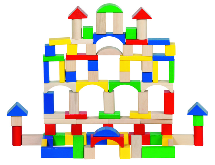 Natural and high quality toys to the development of the skills of children. Building bricks, 100 pieces