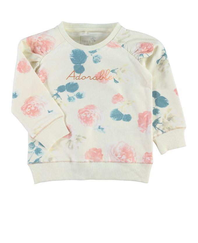 Sweater met mooie bloemen print van Name it. Verkrijgbaar in de maten: 74-98.