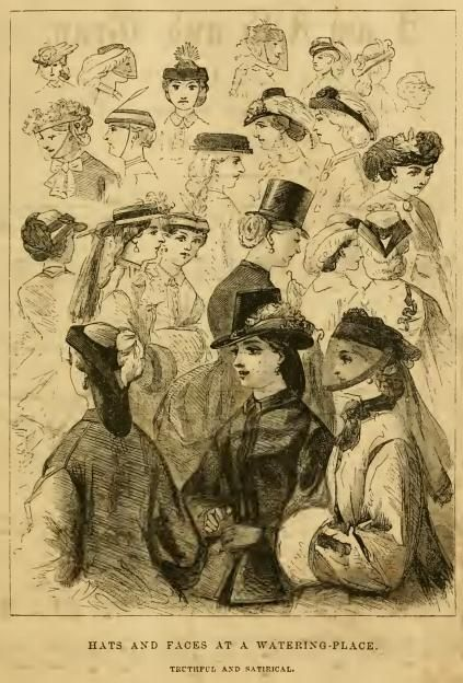 """Hats and Faces at a Watering Place - Tactful and Satirical"" from Godey's Lady's Book 1863 