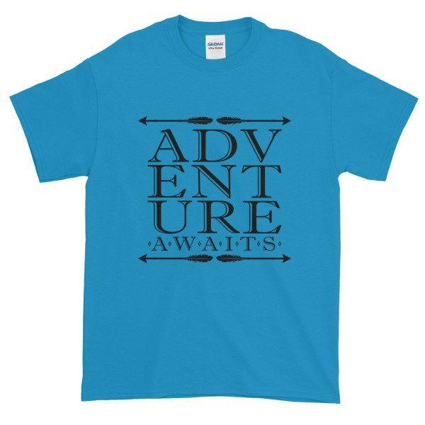 Adventure Awaits - Camping, hiking, weekend adventure - Short-Sleeve T-Shirt - https://store.mygraphicfairy.com/shop/adventure-awaits-camping-hiking-weekend-adventure-short-sleeve-t-shirt/