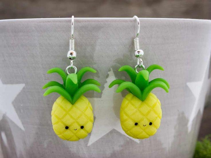 Ananász gyurma fülbevaló