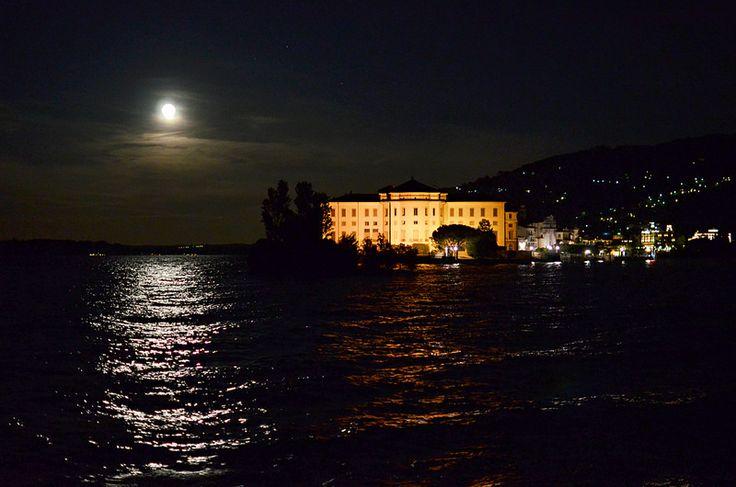 Isola Bella at night from Isola dei Pescatori, Lake Maggiore, Italy
