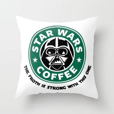 Star Wars Coffee Throw Pillow/ combining my 3 fav things: star wars, coffee and sleep (pillow)-Becka