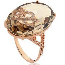 Anel Ouro Rosé Quartzo e Diamantes Fascínio