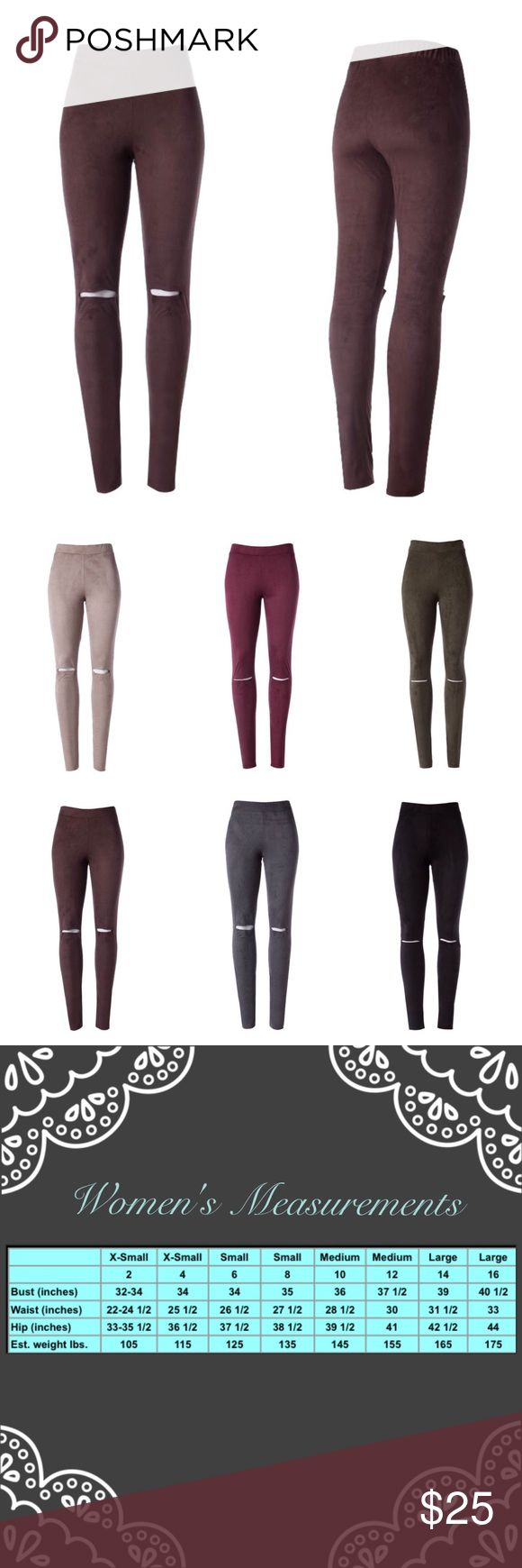 "BROWN High Rise Suede Leggings With Slit Detail High rise elastic waist, slit by knee, suede knit skinny pants.  🔸96% Polyester 4% Spandex 🔸Made in USA 🔸Size Small Measurement: W: 13"" H: 38"" Inseam: 29""  Available in the following colors: Brown, Charcoal, Olive, Taupe, Wine	  ✔️Serious buyers please & No Low ballers!  To me it's asking half or more off an item is Low Balling.   ✔️Please understand the sizes listed on the size chart are different between manufacturers & suppliers & this…"
