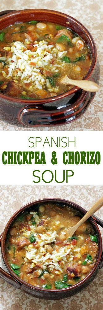 Spanish Chickpea and Chorizo Soup from Reeni at cinnamon spice and everything nice