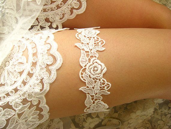 white bridal garter white lace garter wedding garter by annabrides, $15.90