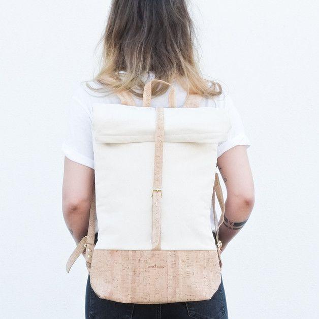 Rucksäcke - CORK BACKPACK NATURAL - ein Designerstück von eveandadis bei DaWanda