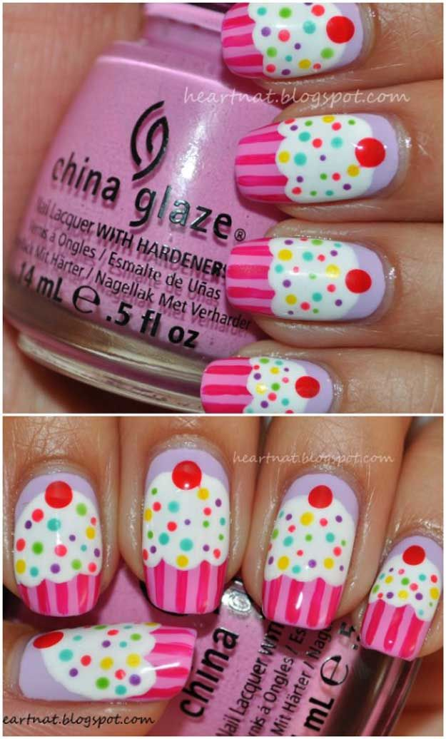 Electropop Cupcake Nails | 23 Spring Nail Art Designs, check it out at http://makeuptutorials.com/nail-designs-spring-nail-art/