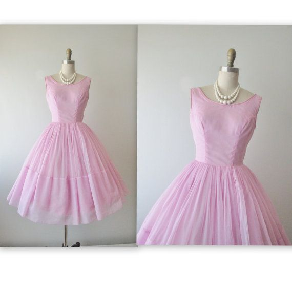 50s Prom Dress // Vintage 1950s Pink Chiffon by TheVintageStudio