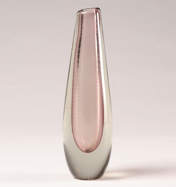 "Nuutajarvi Notsjo amethyst art glass vase with controlled bubbles, designed by Gunnel Nyman; acid stamp mark realized ""0"""