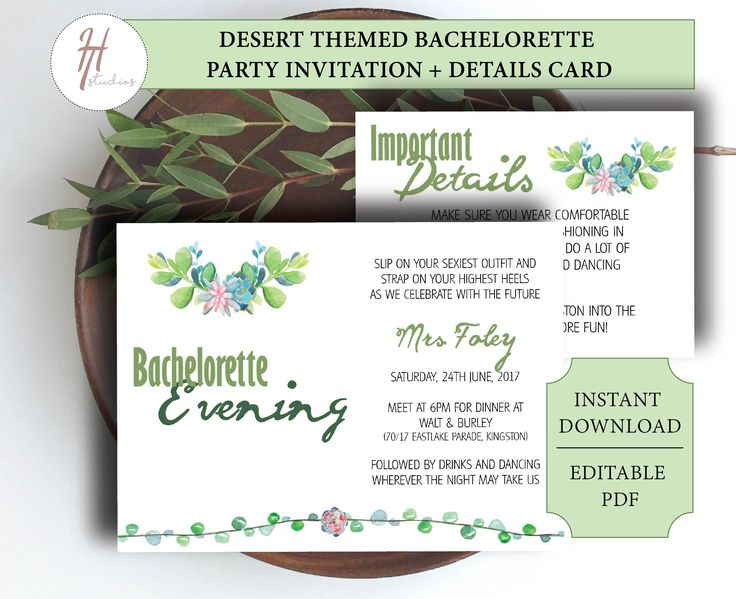 Printable Bachelorette Party Invitation | Invitation Template | Desert theme invitation | Succulent Invitation | Details Card | Greenery by PaperColada on Etsy