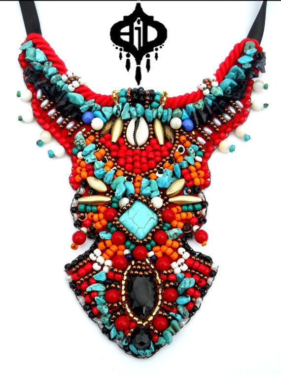 dolce gabbana spring 2017 African bead embroidery bib  statement necklace by AniDandelion