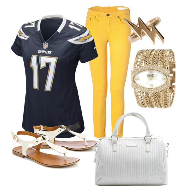 I just made this Outfit on Polyvore! Perfect for a Charger's Game!!!!