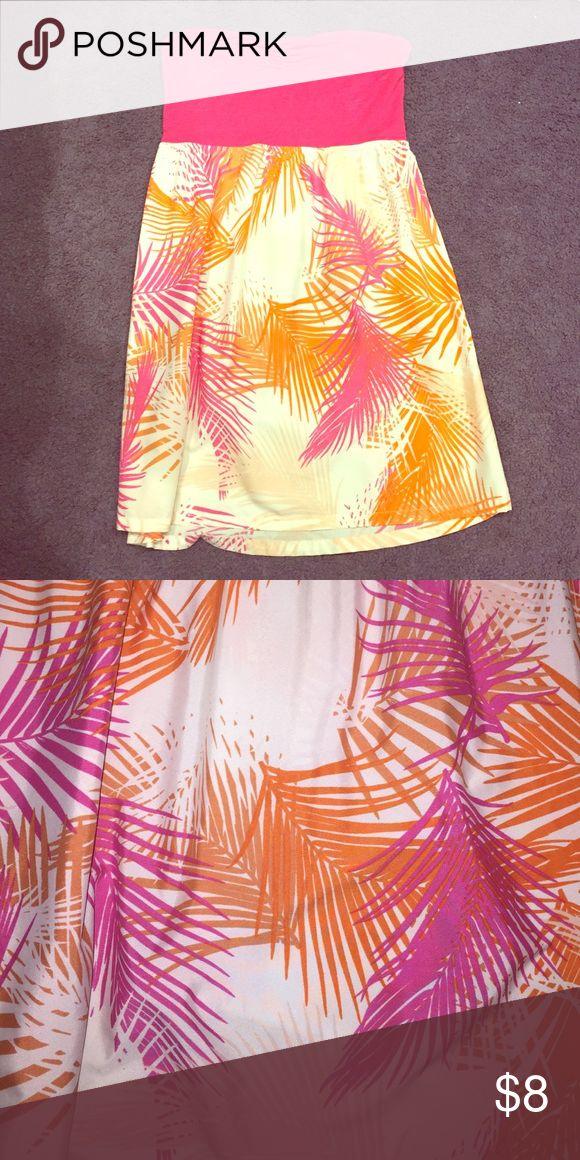 flirty beachy pink and orange sundress strapless, pink and orange, beachy, short sundress Dresses Strapless