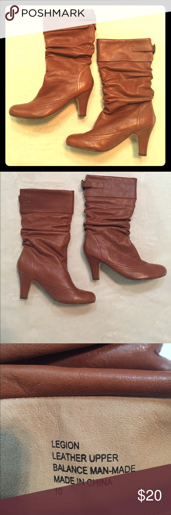 Steve Madden Legion Leather Upper Boots Comfy & cute! These adorable camel colored boots are a great addition to any outfit! Steve Madden Shoes Heeled Boots