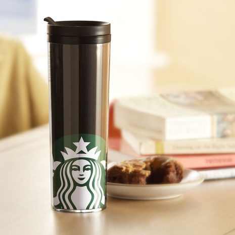 double steeled Starbucks travel mug...one of my most absolute favorite things. Keeps things really hot or cold for 6 hours $13