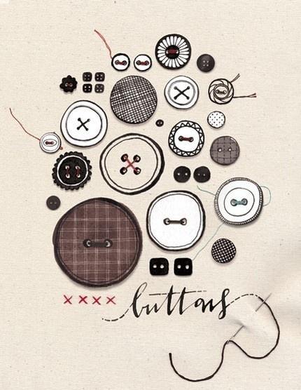 button print by Eva JulietEvajuliet, Eva Juliet, Vintage Buttons, Buttons Prints, Buttons Buttons, Buttons Art, Buttonbutton, Illustration, Crafts