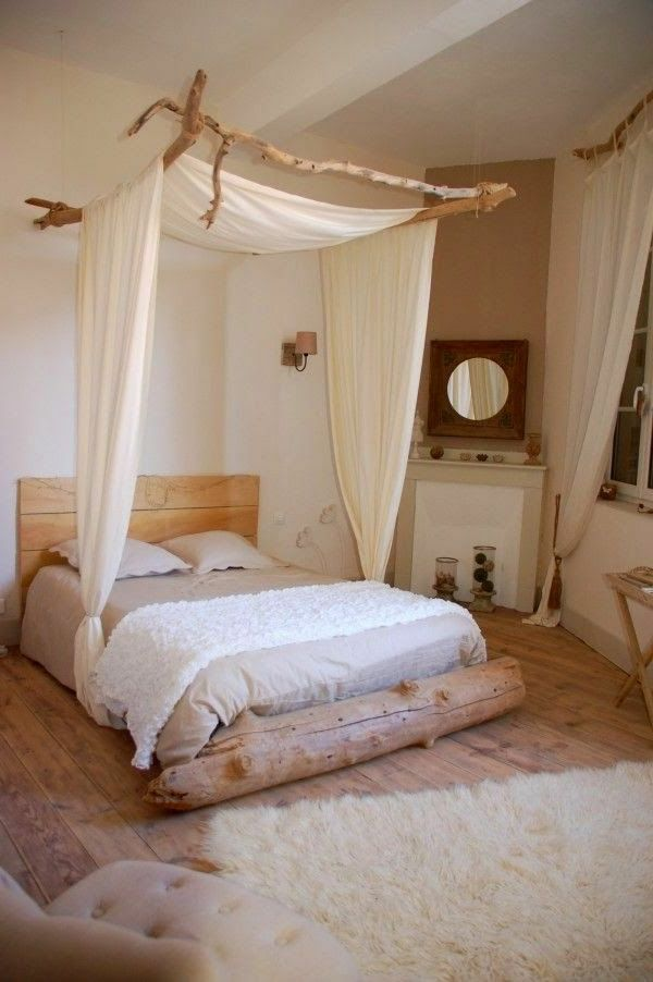 schlafzimmer einrichten betthimmel rustikaler look
